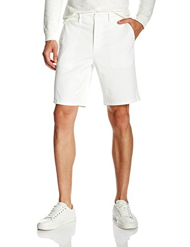 Quality Durables Co. Men's Stretch Regular-Fit Chino Flat-Front Short 40 White (Zip Shorts Side Stretch)