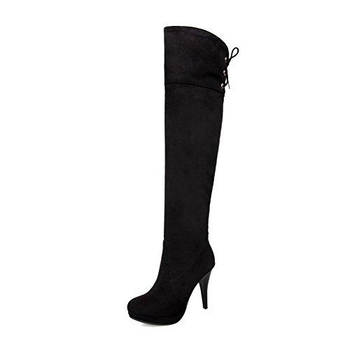 and B Closed Toe Black with US AmoonyFashion Solid Round High Bandage M PU Womens Boots Plush Platform Heels Short 5 TqtOZE