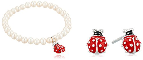 Pearl Bug - Girls' Sterling Silver Freshwater Cultured Pearl Beaded Bracelet with Ladybug Charm and Matching Stud Earrings
