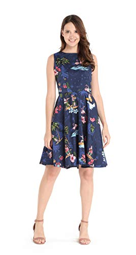 Hawaii Hangover Women's Vintage Fit and Flare Dress XL Christmas Santa in Hawaii in Navy
