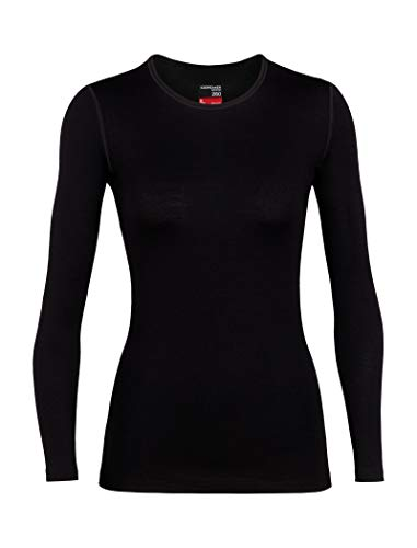 Icebreaker Merino Women's 260 Tech Long Sleeve Crew Neck Shirt, Black, Medium