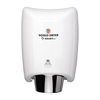 World Dryer K-974 SMARTdri High Efficiency Intelligent Automatic Hand Dryer with Aluminum White Cover, Multi-Jet Nozzle, 110-120V