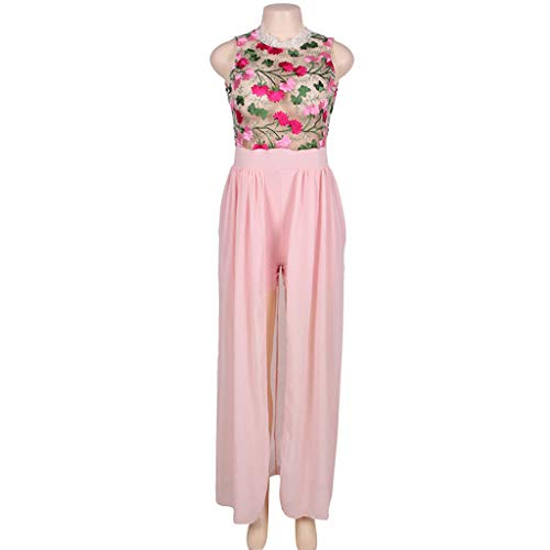 ❤️❤️ Women's Halter Neck Floral Print See Throught Split Beach Lace Romper Short Sleeve Party Maxi Dress Pink by Huitian23-Dress (Image #1)