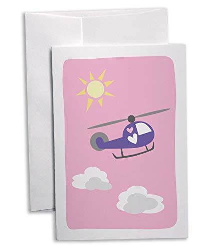 500 Class Helicopter - Traveling Hearts Helicopter Greeting Cards - Children's Valentine's Note Cards - 24 Cards with Envelopes