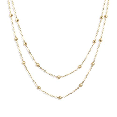 Fettero Dainty Layered Gold Choker Necklace,14K Gold Fill Satellite Chain Necklaces Jewelry (NK5-5)