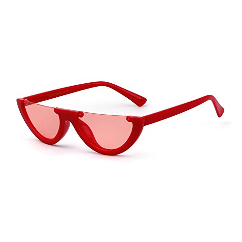 Clout Goggles Cat Eye Sunglasses Vintage Mod Style Retro Kurt Cobain Sunglasses (Red/Orange, 50)