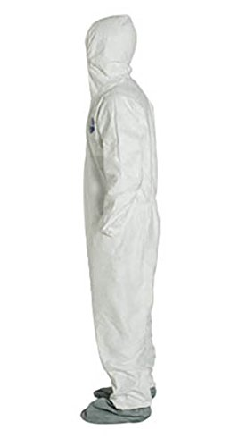 DuPont Tyvek 400 TY122S Disposable Protective Coverall with Elastic Cuffs White Attached Hood and Boots Medium Pack of 25