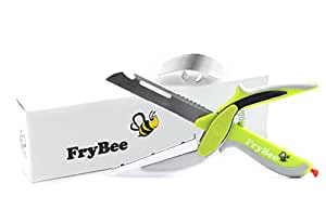 FryBee Kitchen Knife with Cutting Board 6 in 1 Universal Knife Food Chopper Food Scissors Slicer Vegetable Chopper Clever Fruit Cutter Kitchen Scissors Knives Cutlery Kitchen Gadgets