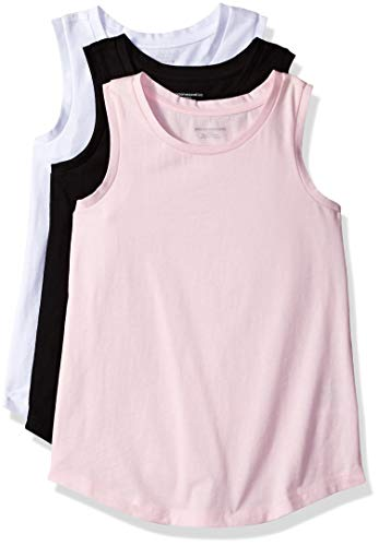 Beauty Top - Amazon Essentials Little Girls' 3-Pack Tank, Bright White/Black Beauty/Cherry Blossom, M