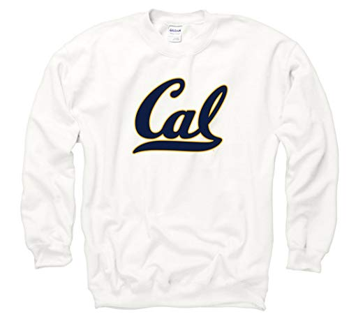 (UC Berkeley Bold Script Cal Crew-Neck Sweatshirt-White)