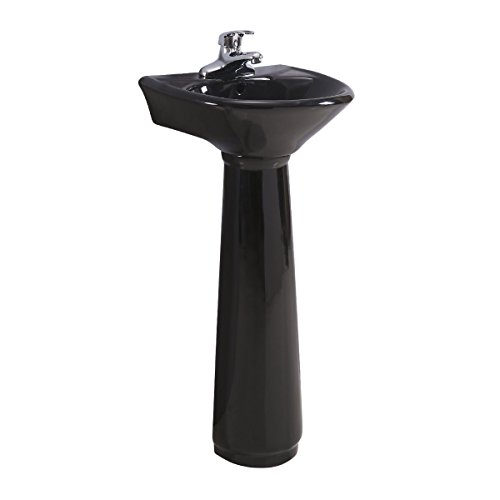 (Black Pedestal Sink Small Vitreous China Space Saving Design 34