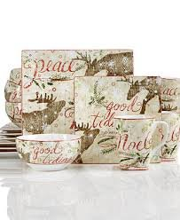 222 Fifth Holiday Moose Reindeer Up North Square Salad Plates Set of ()