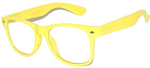 Retro Style Classic Vintage Sunglasses Yellow Frame with Clear Lens for Women - Glasses Yellow Frames