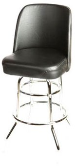 - Oak Street Manufacturing SL2134-BLK Double Rung Chrome Frame Barstool with Black Bucket Seat, 18