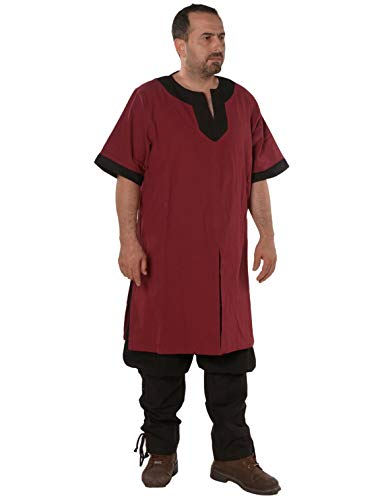 Loki Medieval Viking Cotton Half-Sleeve Tunic by Calvina Costumes - Made in Turkey -BRG/BLC 4XL Burgundy/Black