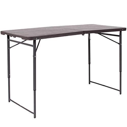 Flash Furniture DAD-LF-122Z-GG BRN 23.5x48.25 Plastic Folding Tables, Brown ()