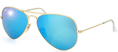 RAY-BAN RB3025 Aviator Large Metal Flash Mirrored Sunglasses, Matte Gold/Blue Flash, 55 mm (Ban Mirror Blue Sunglasses Ray)