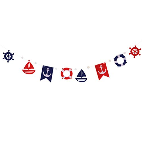 Amosfun Ocean Theme Bunting Banner Sailing Banners Pull Flag Hanging Decoration for Festival Birthday Party