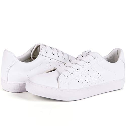 Lantina Women's Low Top Fashion Sneakers PU Leather Shoes Lace Up Comfy for Ladies Girls Tennis Athletic Sport Walking Dress Cute Comfortable and Simple Casual with Support, Bright All White Size 5