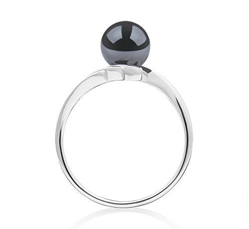 Noir 6-7mm AAA-qualité Akoya du Japon 585/1000 Or Blanc-Bague perles