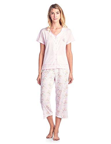 Casual Nights Women's Pointelle Short Sleeve Floral Capri Pajama Set - Pink - Large