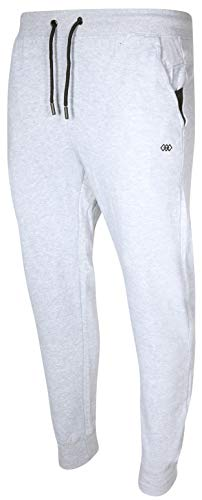 (LEG3ND Men's Ribbed Elastic Waist Fleece Active Performance Jogger Pants, Grey Heather, Large')