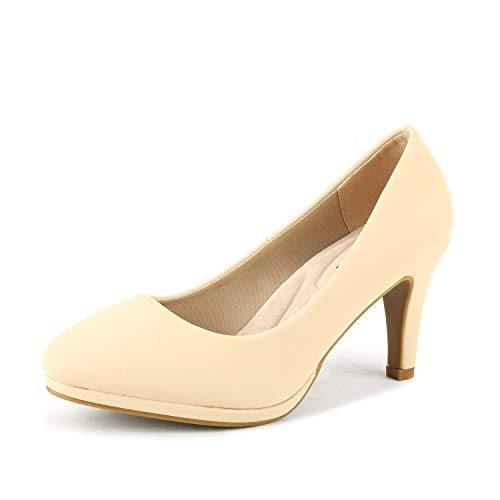 DREAM PAIRS Women's City_CT Nude New Classic Elegant Low Kitten Heel Party Dress Pumps Shoes Size 7.5 B(M) US -