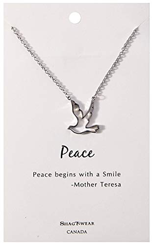 (Shag Wear Peace and Karma Inspirations Quote Pendant Necklace (Peace, Dove Pendant))