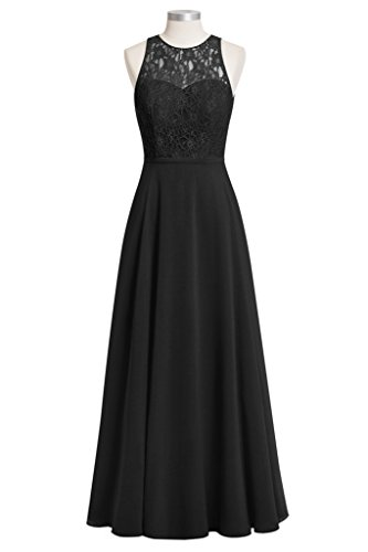 Tivansi Women's Long Lace Chiffon Bridesmaid Dresses Open Back black Size 20