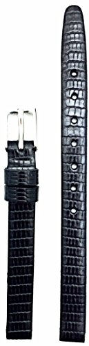 8mm Black Genuine Leather Watch Band | Flat, Tail Lizard Grained Replacement Wrist Strap That Brings New Life to Any Watch (Womens Standard Length)
