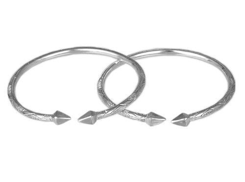 Pyramid .925 Sterling Silver West Indian Bangles (Pair) (MADE IN USA)