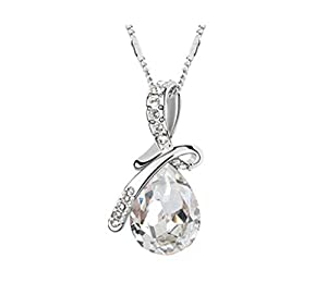 TWINKLE.H Womens Gem Sterling Silver Angel Tears Drop Pendant Female Austria Crystal Pendant Clavicle Necklace