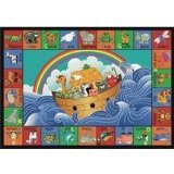 Joy Carpets Kid Essentials Inspirational Noah's Alphabet Animals Area Rug, Multicolored, 7'8