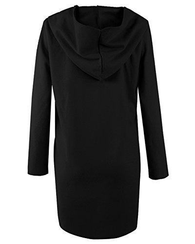 Manteau Jacket Trench Femme Coat À Capuche Hoodie Outwear Noir Veste E0RfqRwBx