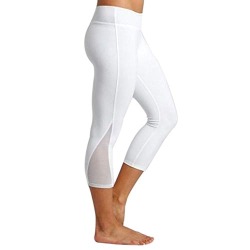 DEESEE(TM) Women Leggings Fitness Sports Gym Running Slim Tight Yoga Athletic Pants (White, XL)