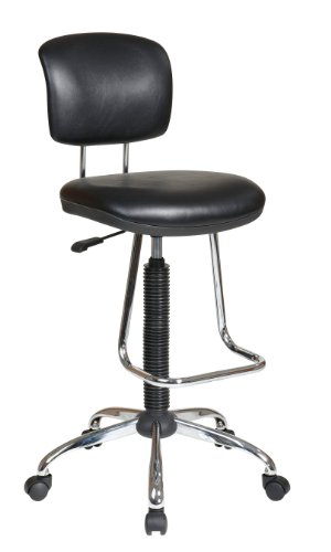 Office Star Pneumatic Drafting Chair with Casters and Chrome Teardrop Footrest, Vinyl Stool and - Desk Metal Chrome
