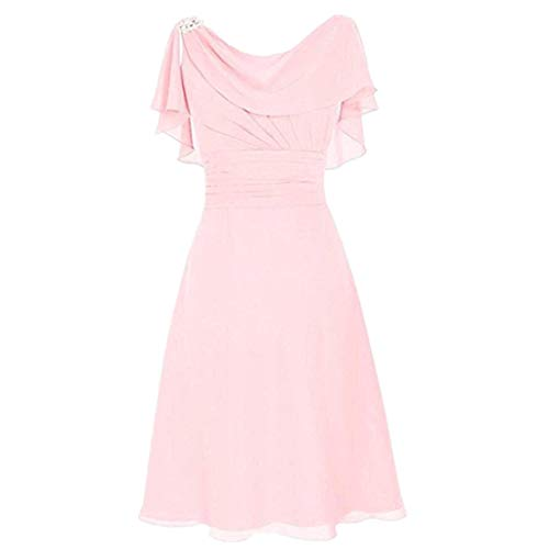 Aunimeifly Ladies' Formal Wedding Dress Women Sexy Slash Neck High Waist Party Cocktail Ball Chiffon Dress Pink