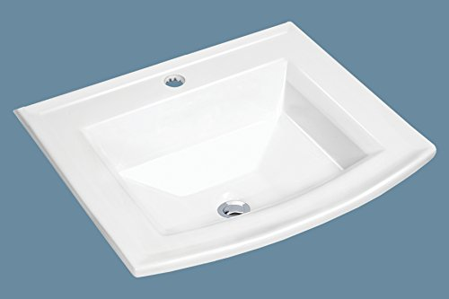 MSCBDP-2320-1W 23'' x 20'' White Rectangular Porcelain Drop-In Top Mount Bathroom Sink by Magnus Sinks