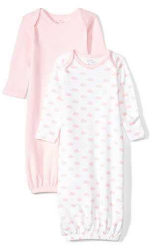 Moon and Back Baby Set of 2 Organic Sleeper Gowns, Pink Blush, 0-6 Months ()