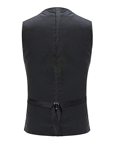 Fit Da Slim Business Monopetto Suit Schwarz neck Gilet Vest Skinny V Uomo qIxwnZB