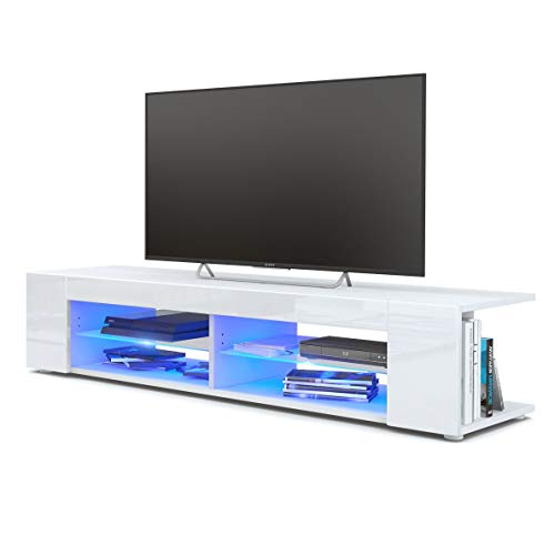 Ejoyous Modern White TV Stand with LED Lights, High Gloss TV Stand 4 Storage Open Shelves Console Storage Media Display Cabinet Remote Control for TV Living Room Furniture 47.2 x 14.7 x 13.6inch