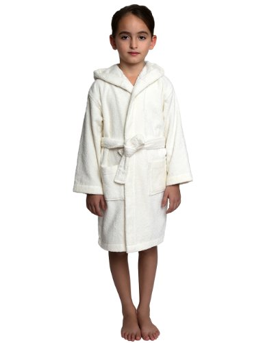 TowelSelections Big Girls Robe, Kids Hooded Cotton Terry Bathrobe Cover-up Size 10 Ivory