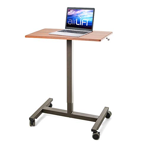 Seville Classics AIRLIFT 24.5'' Pneumatic Height Adjustable Sit-Stand Mobile Laptop Computer Desk Cart (29.3'' to. 43.5'' H), Maple by Seville Classics (Image #6)