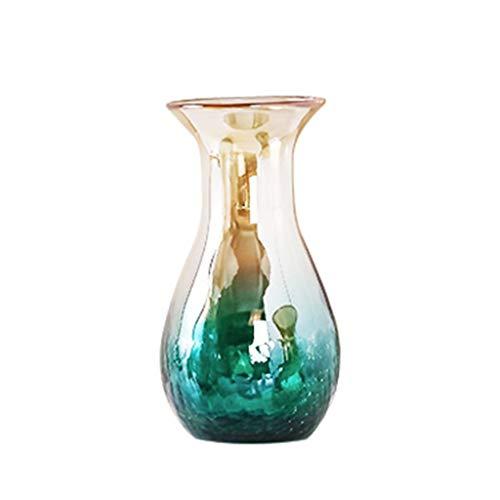 Hh001 Jarron de Vidrio florero gradiente de Color florero hidroponico Creativo Retro mejoras para el hogar Mesa de Comedor florero Superior (Color : Blue , Size : 27*15CM)