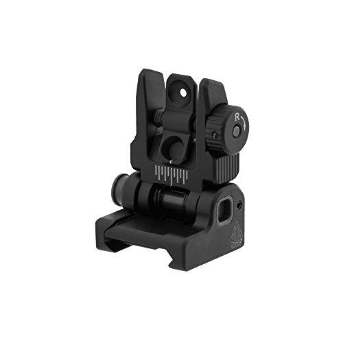 (UTG Accu-Sync Spring-Loaded AR15 Flip-Up Rear Sight, Black)