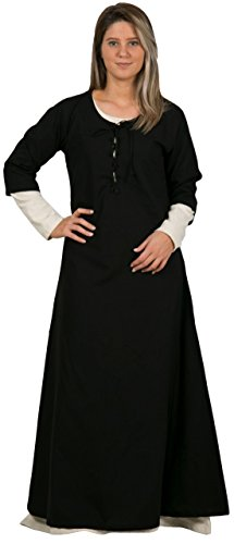 Halloween Costumes W/ Black Dress (NOVA Medieval Dress by CALVINA COSTUMES - Made in TURKEY, L-Black)