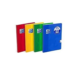 Oxford 400017512 Esse A4 de apuntes con cubierta semirígida, 96 hojas, cuadros, paquete de 5 unidades colores Mix