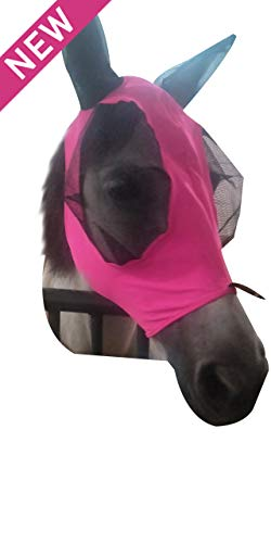 Soft Mesh Fly Sheet - TGW RIDING Extra Comfort Lycra Grip Soft Mesh Horse Fly Mask with Ears (L, Pink)