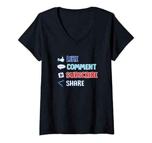 Womens Like Comment Subscribe Cute Vlogger Streamer Influencer Gift V-Neck T-Shirt