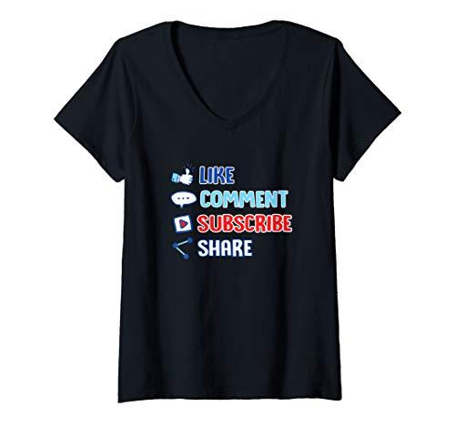 Womens Like Comment Subscribe Cute Vlogger Streamer Influencer Gift V-Neck T-Shirt